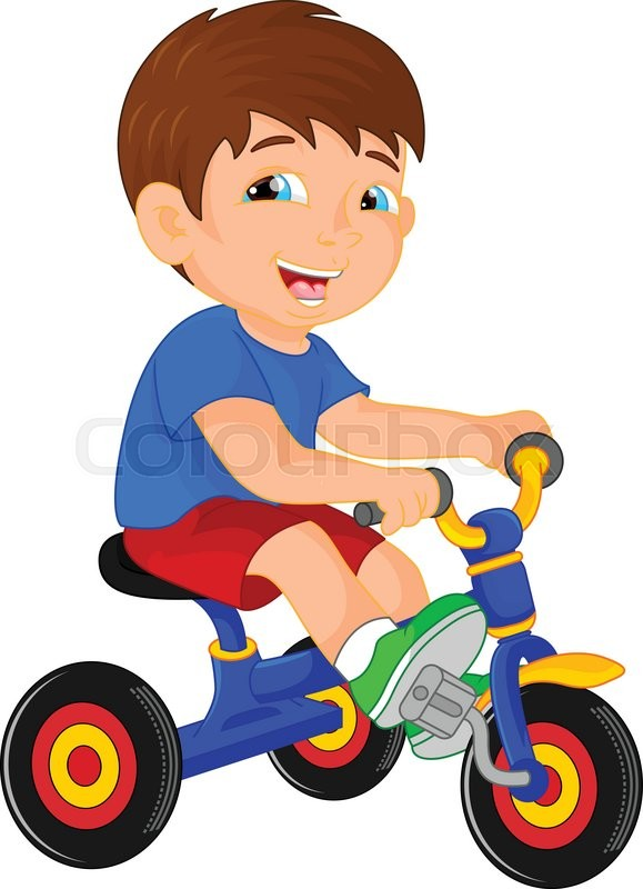579x800 Vector Illustration Of Funny Little Child On Tricycle Stock