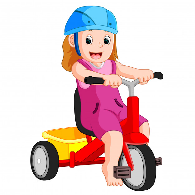 626x626 Very Cute Girl On Tricycle Vector Premium Download