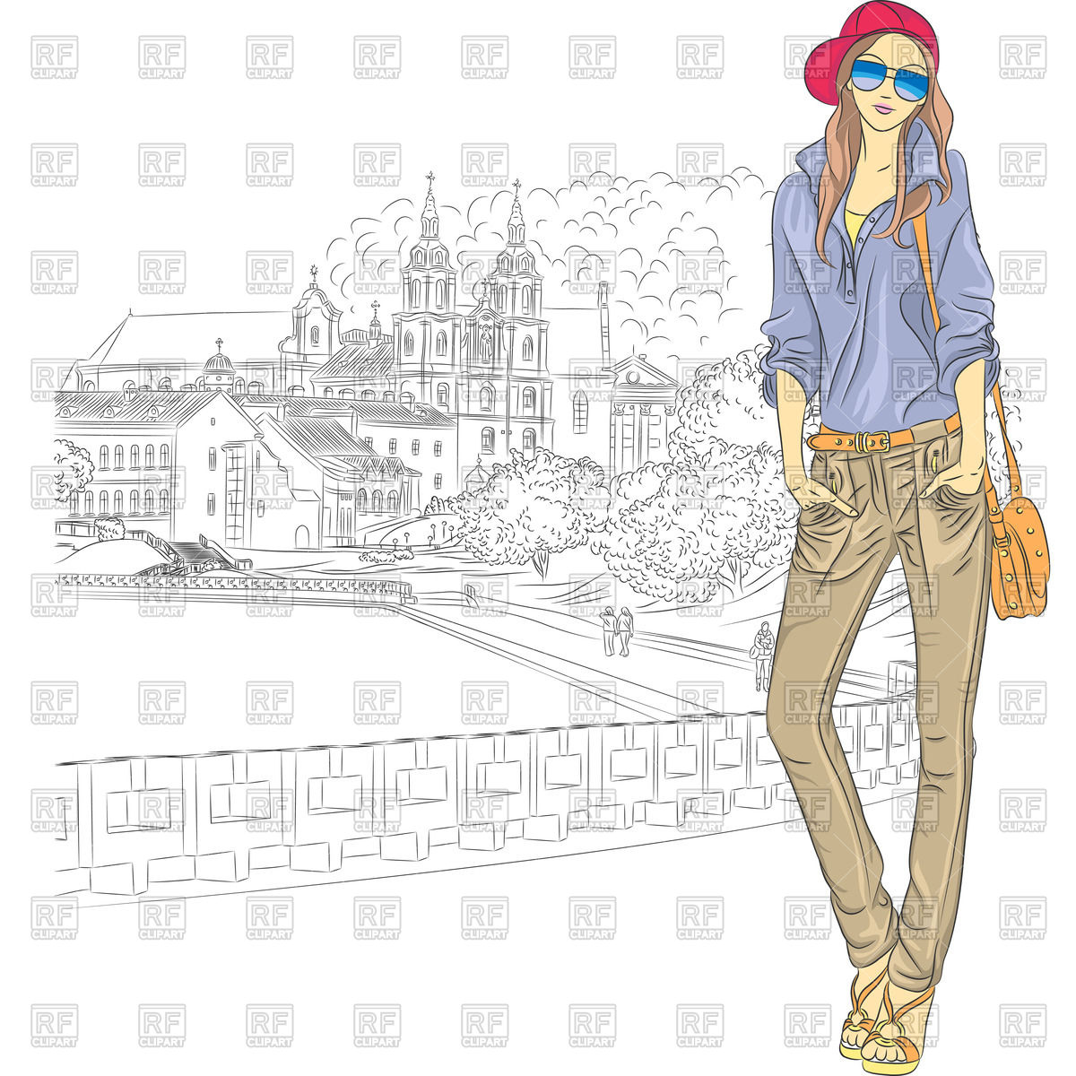 1200x1200 Stylish Girl In Jeans, Jacket And Cap Against A Sketch Style Old
