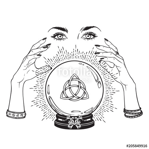 500x500 Hand Drawn Magic Crystal Ball With Triquetra Or Trinity Knot In