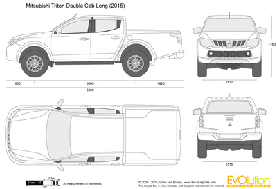 400x274 Mitsubishi Triton Double Cab Long Vector Drawing