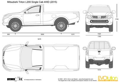 400x278 Mitsubishi Triton Single Cab 4wd Vector Drawing