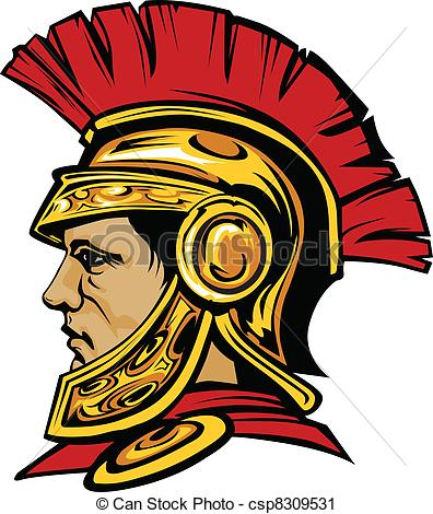 396x470 Spartan Trojan With Helmet Mascot . Vector Graphic Of A Greek