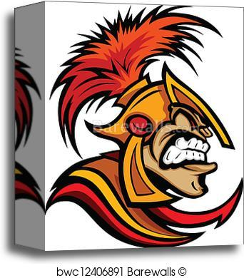 342x390 Canvas Print Of Roman Centurion Head With Helmet Vector Cartoon