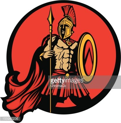 411x418 Greek Spartan Trojan Vector Mascot With Spear And Shield Premium