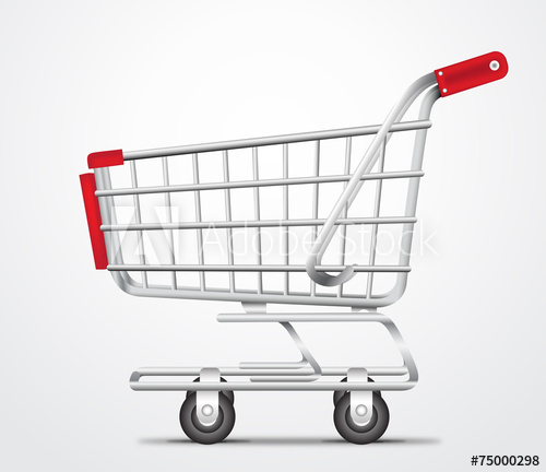 500x432 Empty Shopping Cart Trolley Vector In Isolated White Background