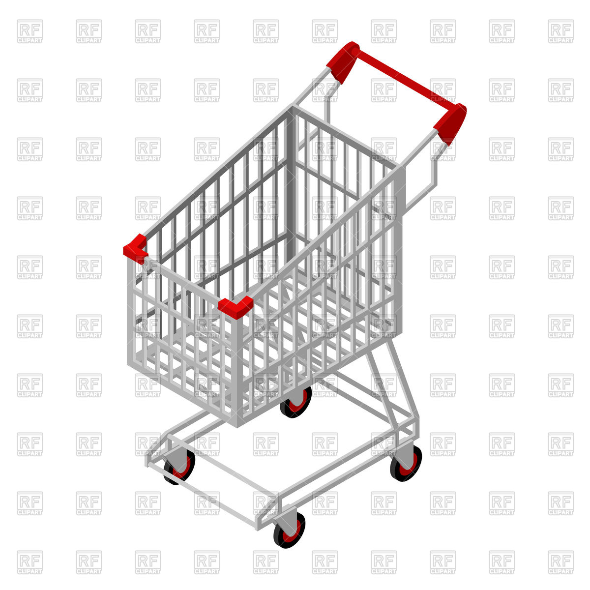 1200x1200 Empty Shopping Cart, Supermarket Trolley Vector Image Vector