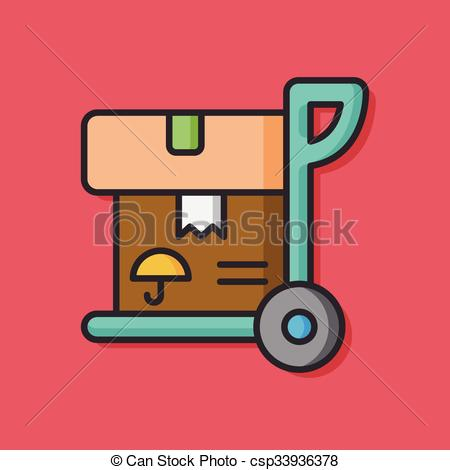 450x470 Logistics Freight Trolley Vector Icon.