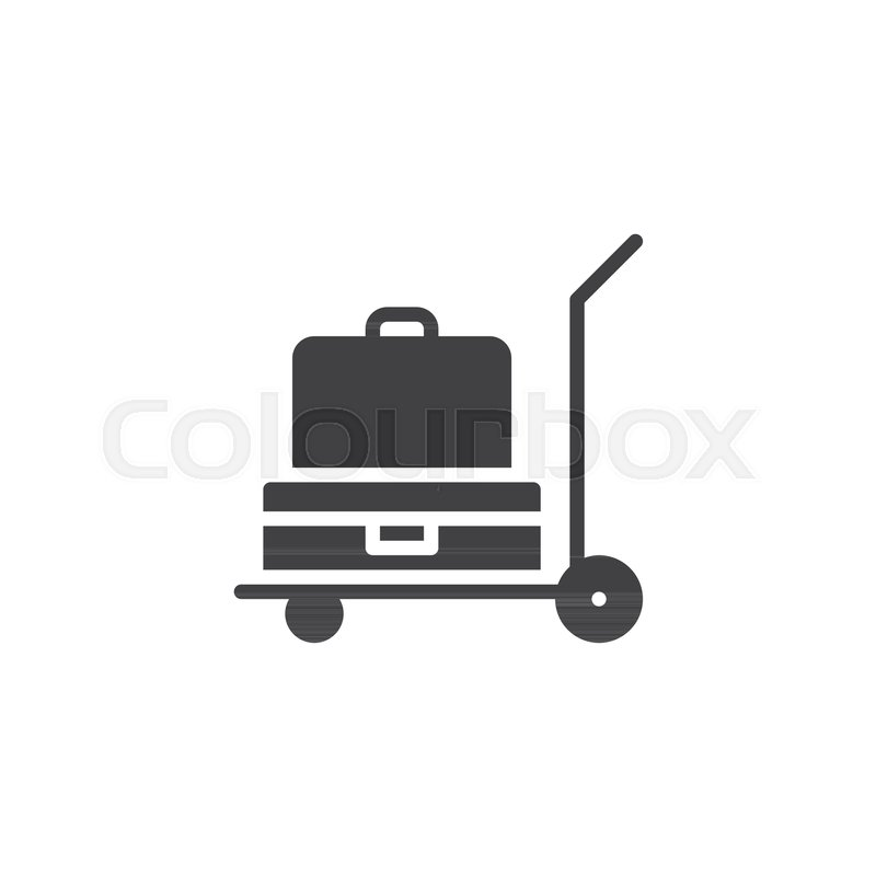 800x800 Luggage Trolley Vector Icon. Filled Flat Sign For Mobile Concept