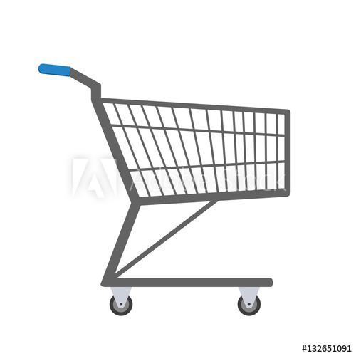 500x500 Shopping Trolley. Vector Illustration