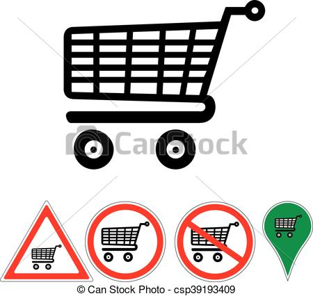 450x426 Signs Supermarket Trolley Isolated On White.