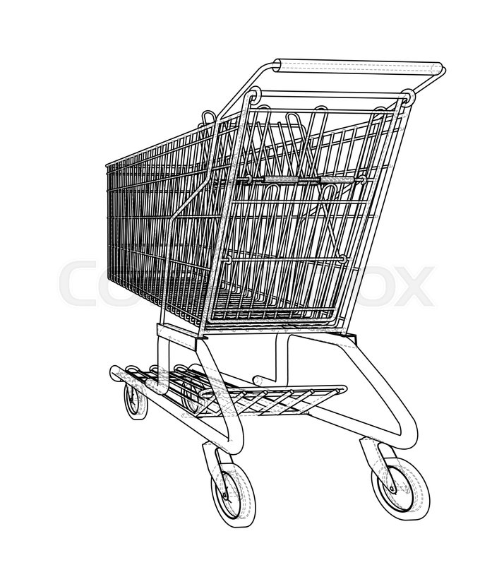 714x800 Sketch Shopping Trolley. Vector Rendering Of 3d. Wire Frame Style