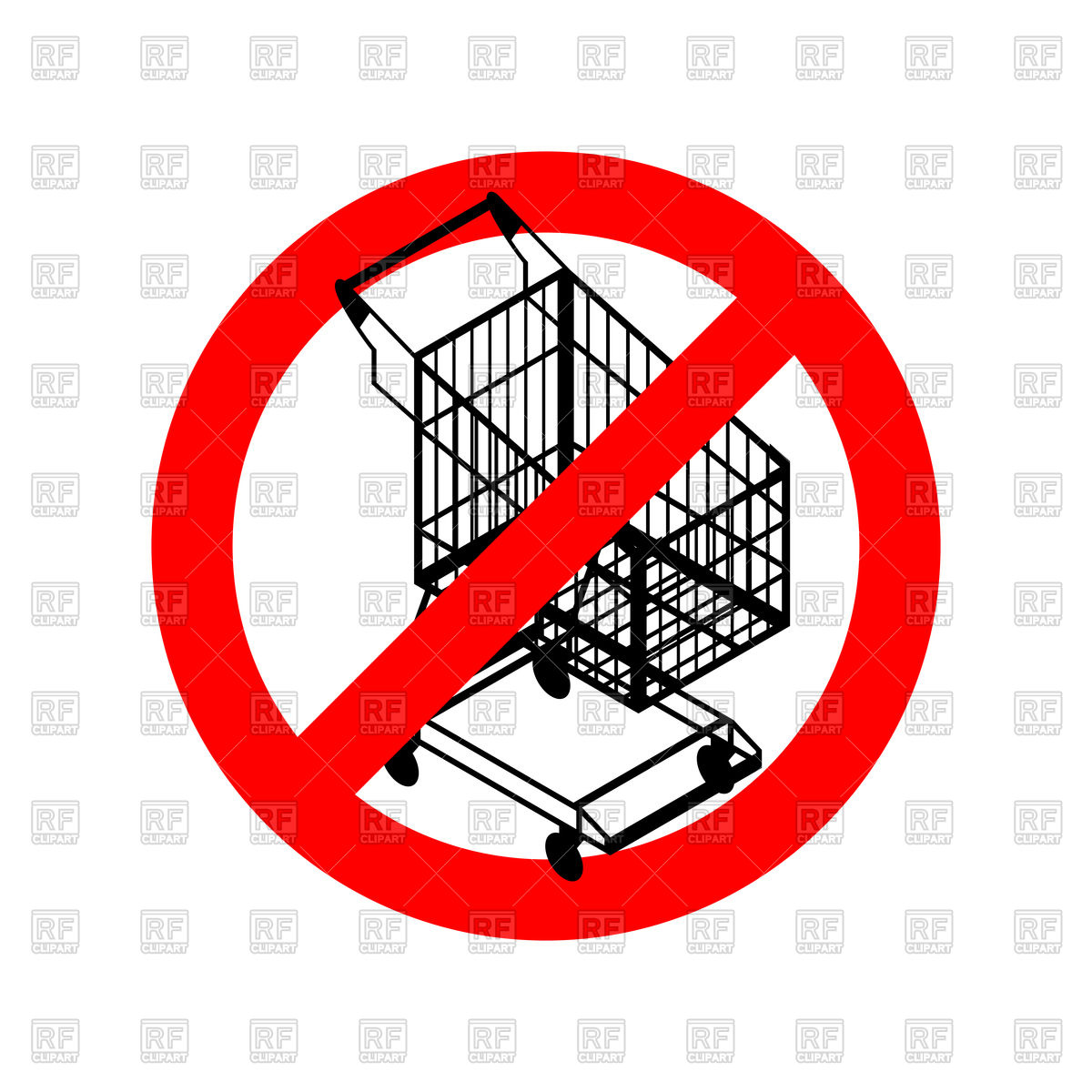 1200x1200 Stop Shopping Cart, Prohibited Shopping Trolley Vector Image