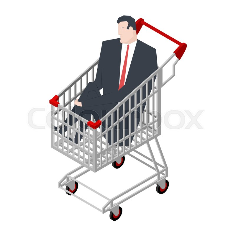 800x800 Businessman Sitting In Shopping Cart. Boss Is Riding In