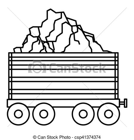 450x470 Coal Trolley Icon, Outline Style. Coal Trolley Icon. Outline