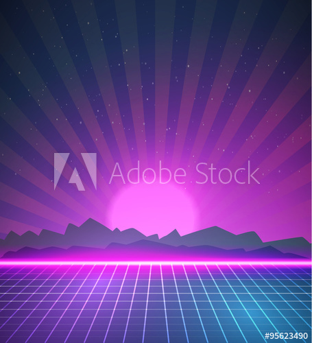 455x500 1980 Neon Poster Retro Disco 80s Background Made In Tron Style W