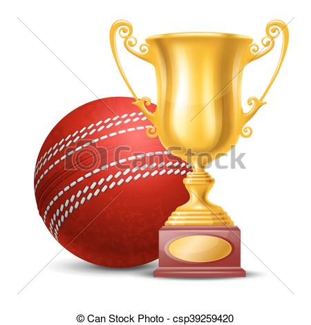 450x470 Realistic Golden Trophy Cup And Red Cricket Ball. Isolated On
