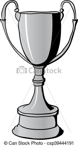 253x470 Silver Winners Cup. Silver Winners Trophy Cup. Hand Drawn Vector
