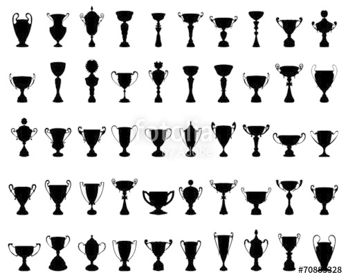 500x400 Black Silhouettes Of Trophy Cup, Vector Illustration Stock Image