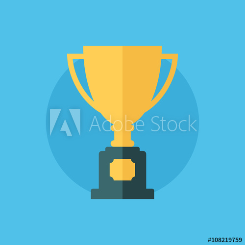 500x500 Trophy Cup Flat Icon. Winner Cup Vector Illustration.