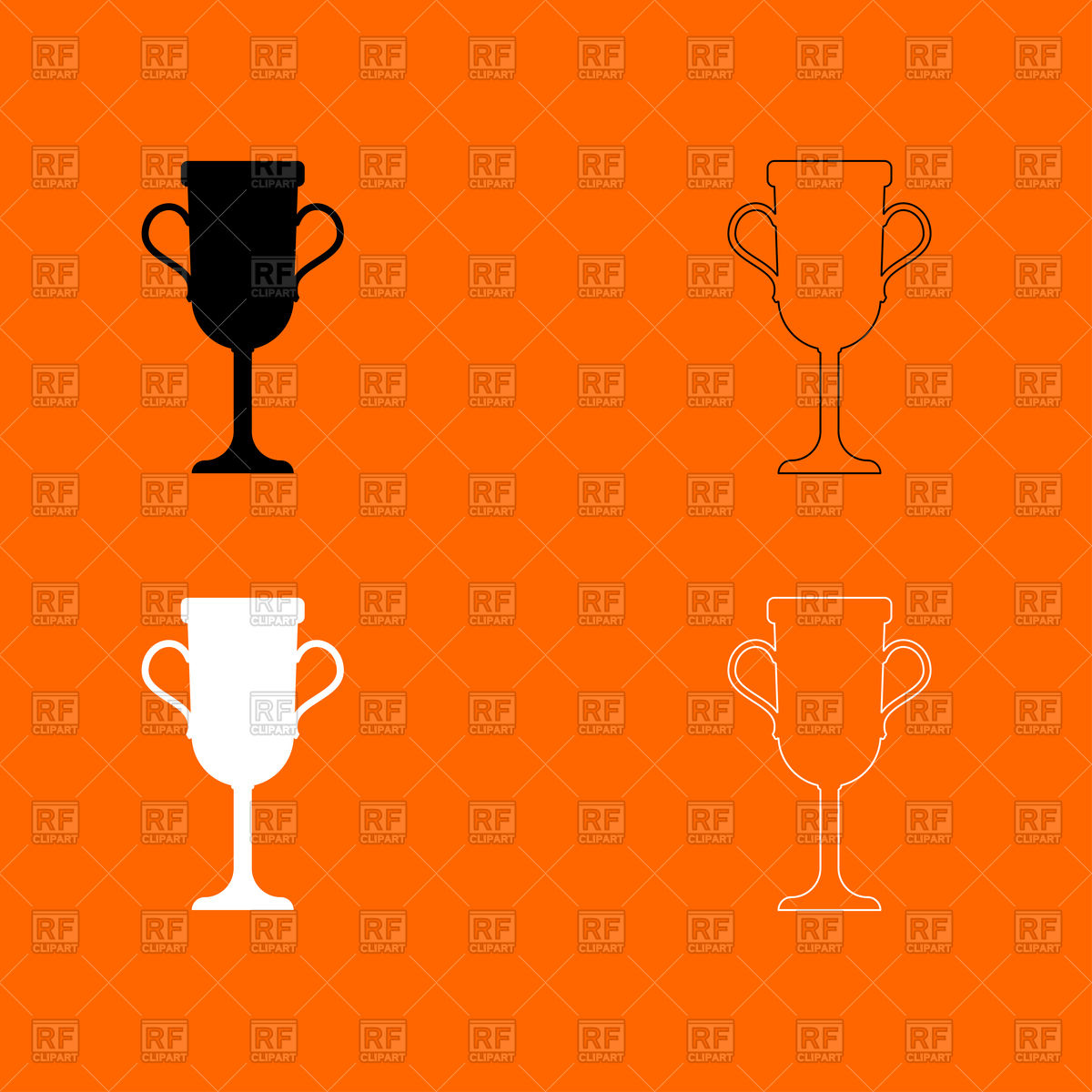1200x1200 Trophy Cup Black And White Set Icon Vector Image Vector Artwork
