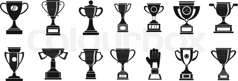 800x274 Trophy Cup Icon Set. Simple Set Of Trophy Cup Vector Icons For Web