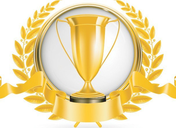 607x441 Free Golden Emblem With Ribbon And Trophy Cup Vector 02
