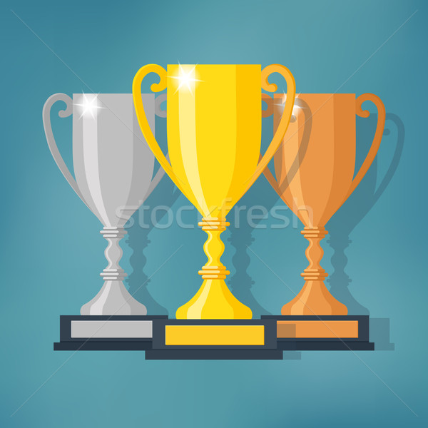 600x600 Gold, Silver And Bronze Trophy Cup Vector Illustration Alexey