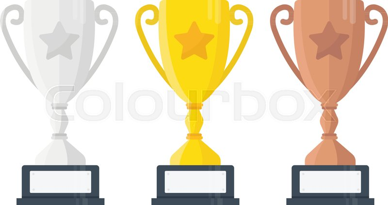 800x423 Gold, Silver And Bronze Trophy Cup. Vector Flat Trophy Icon With