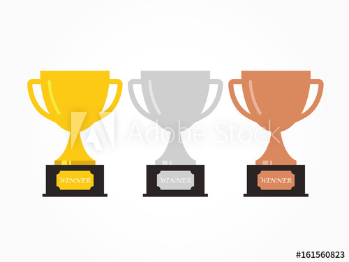 500x375 Gold, Silver And Bronze Trophy Cup. Vector Illustration.