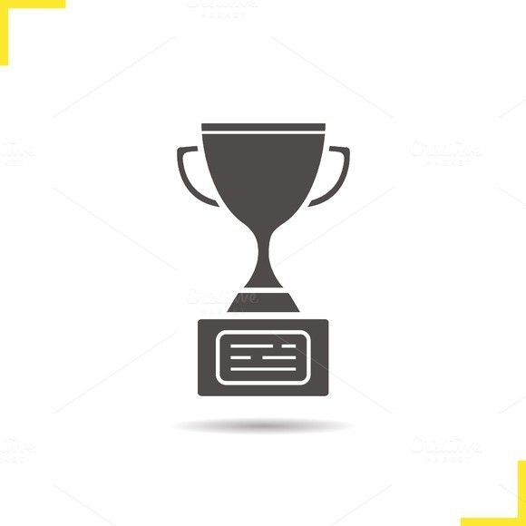 580x580 Award Trophy Icon. Vector Icons, Drop Shadow And Symbols