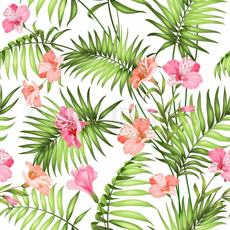 800x800 Seamless Tropical Pattern. Blossom Flowers For Seamless Pattern