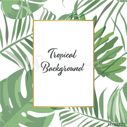 500x500 Tropical Background Vector. Green Forest Pattern For Invitation
