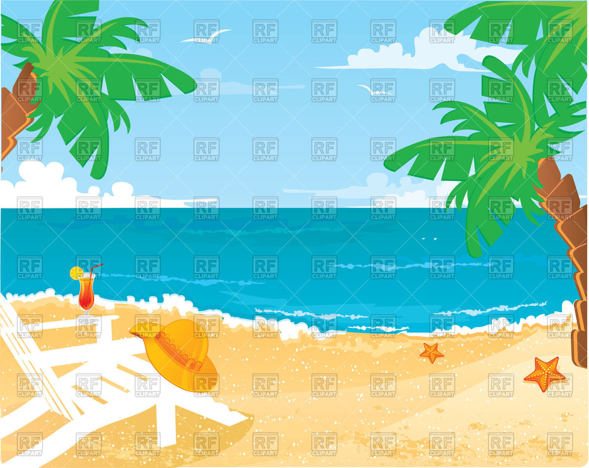 1200x952 Tropical Background With Beach, Ocean, Palm Trees And Sun Lounger