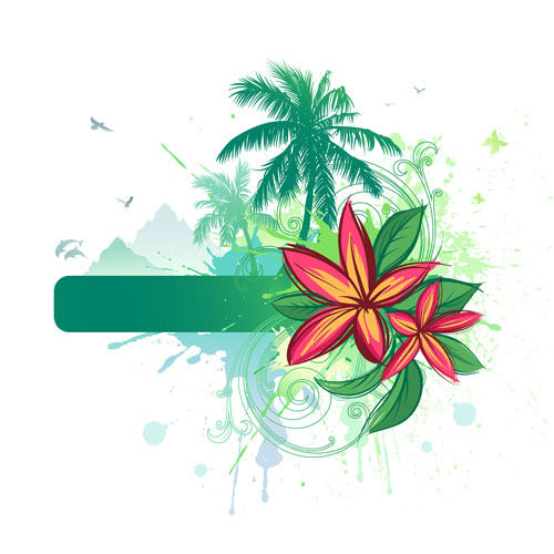 500x500 Tropical Elements Backgrounds Vector 01 Free Download