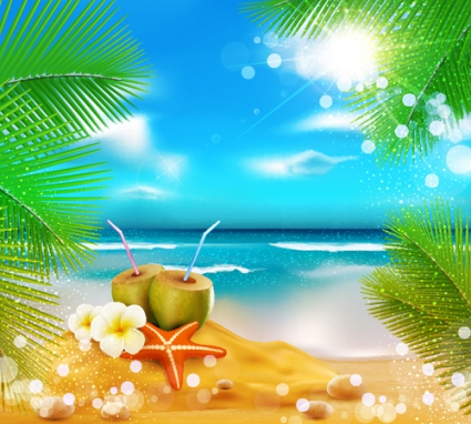425x382 Elements Of Tropical Beach Background Vector Art Vector Free