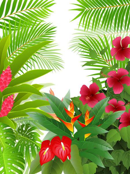 450x600 Elements Of Tropical Scenery Background Vector Free Vector In
