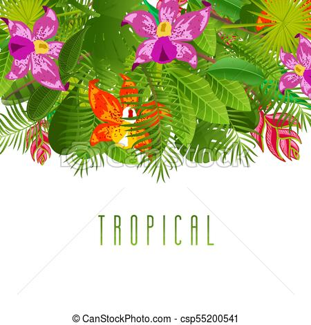 450x470 Green Summer Tropical Background With Exotic Palm Leaves And