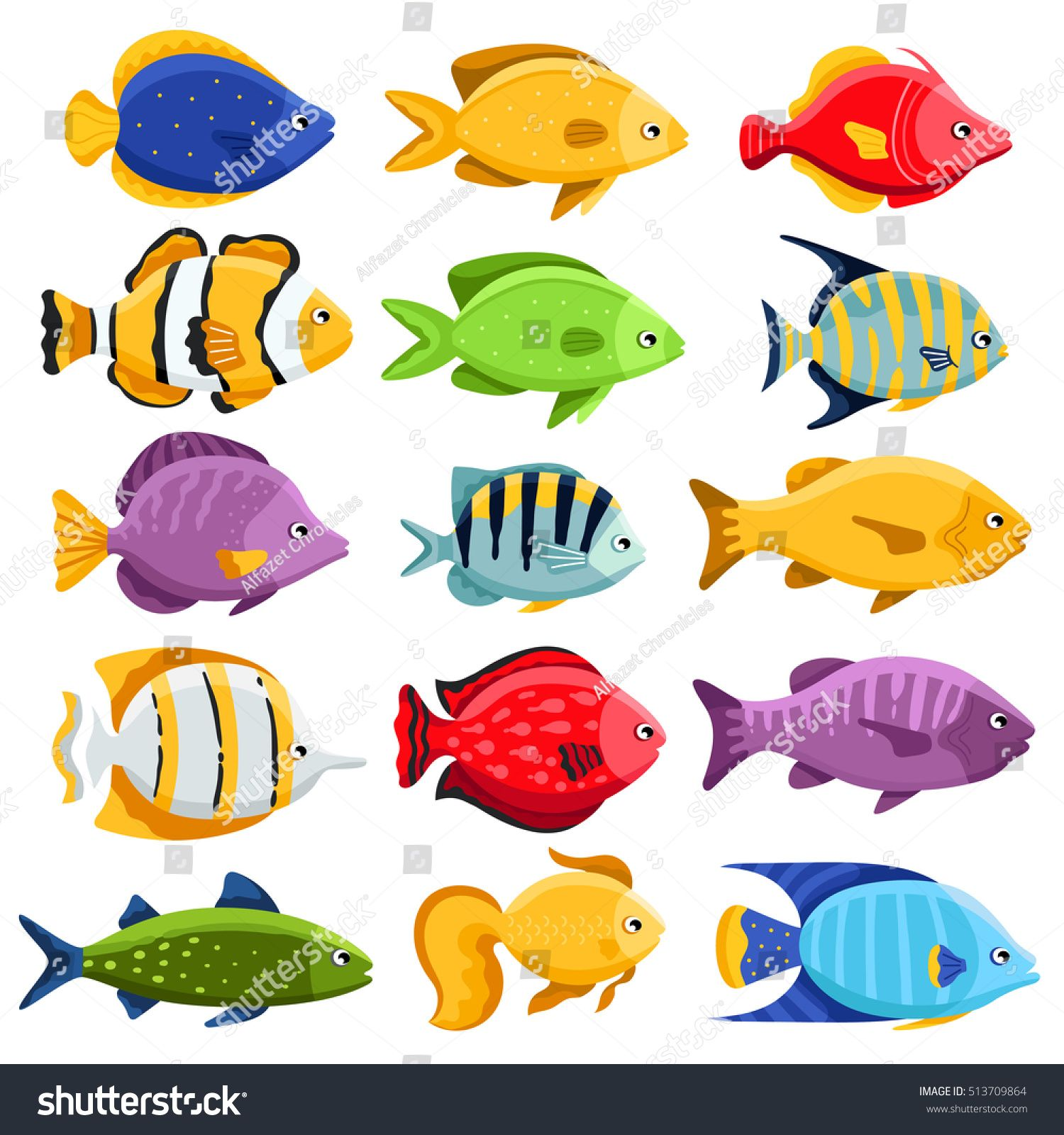 1500x1600 Funny Fish Vector Characters. Colorful Coral Reef Tropical Fish