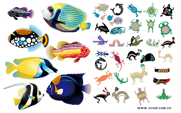 600x374 Realistic And Abstract Animal Fish Vector Material Download Free