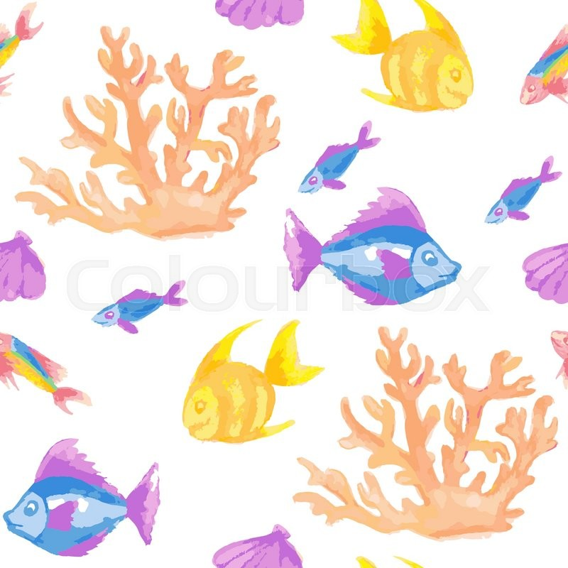 800x800 Seamless Pattern With Coral And Tropical Fish. Vector Illustration