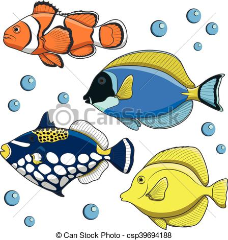 448x470 Set Of Vector Tropical Fish. Isolated Objects On White.