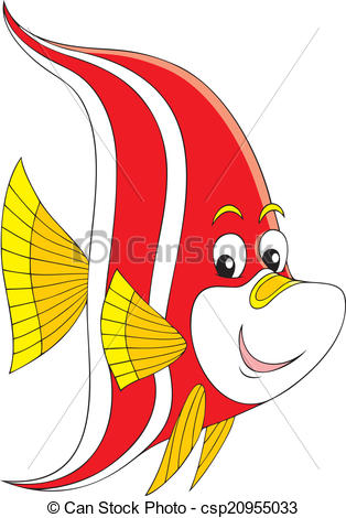 314x470 Tropical Fish. Vector Clip Art Of A Red And White Striped Coral Fish.