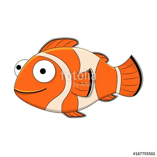 500x500 Cute Cartoon Clown Fish. Vector Illustration Isolated On White