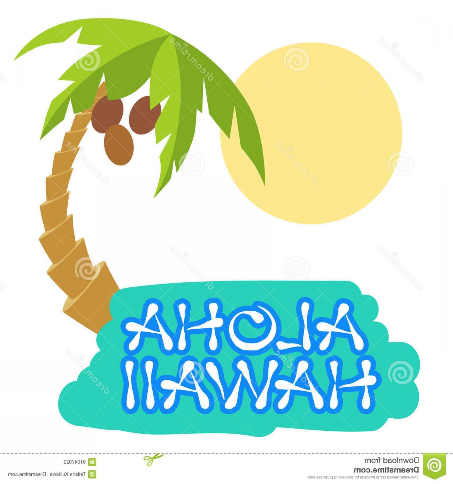 1560x1668 Stock Illustration Tropical Island Palm Tree Vector Illustration