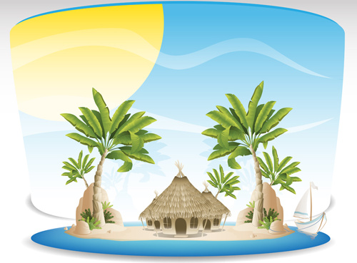 500x369 Summer Tropical Island Travel Background Vector Free Vector In