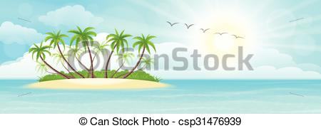 450x180 Summer Tropical Island With Palms, Sand, Sky And Sun.