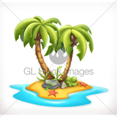 500x500 Tropical Island, 3d Vector Icon Gl Stock Images