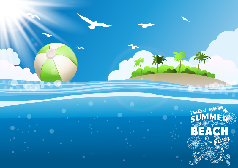 801x567 Tropical Island Beach Background Vector Free Vector Graphic Download