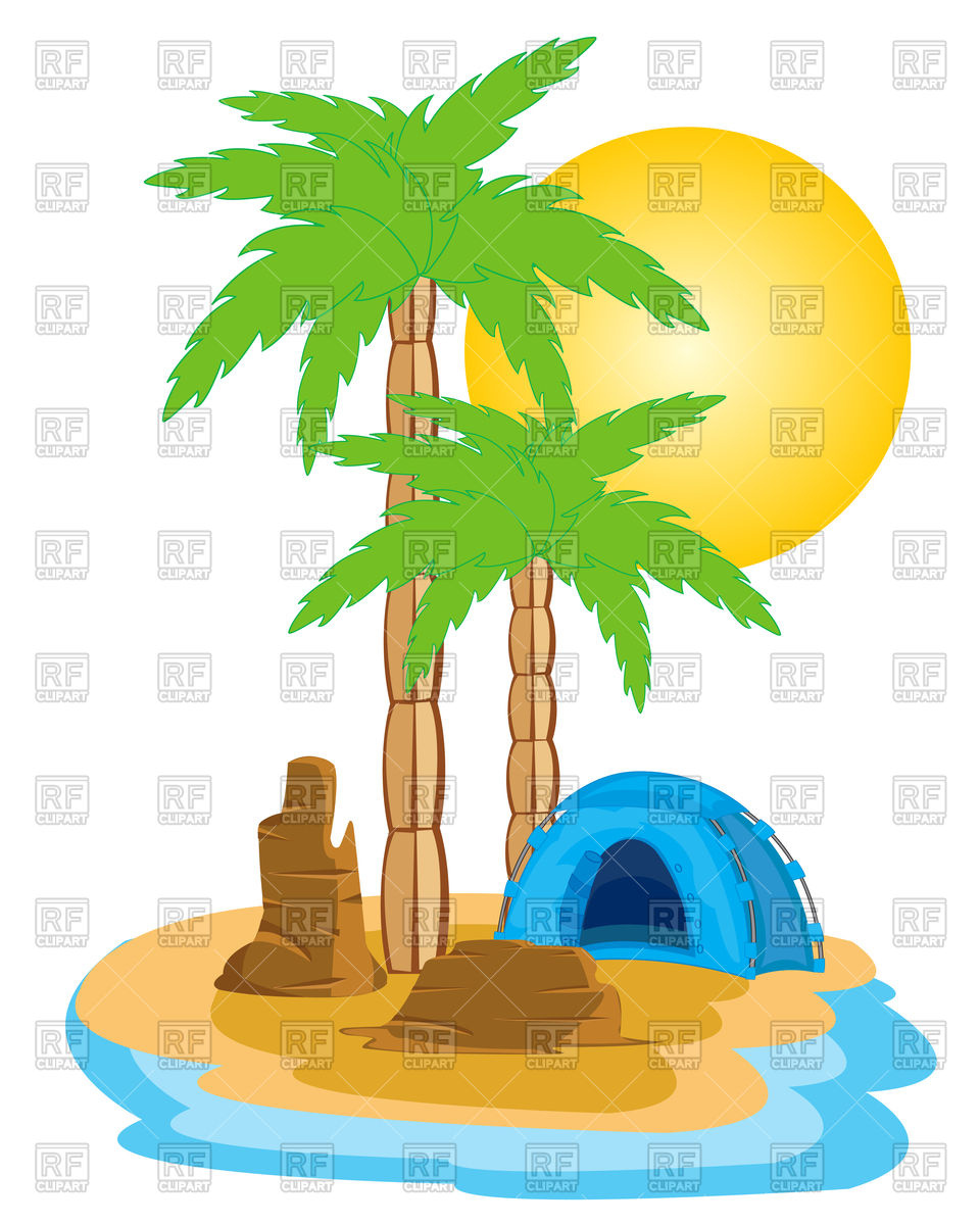 960x1200 Blue Tent On Tropical Island With Palm Trees Vector Image Vector